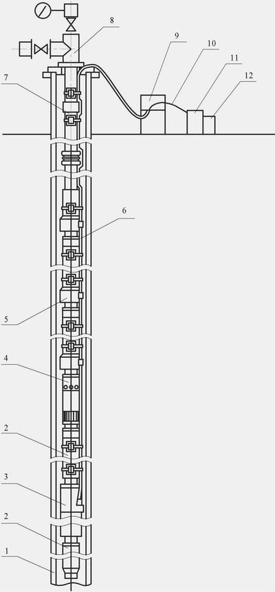 Рис. 2 Схема установки электроцентробежного насоса 1 - обсадная колонна скважины; 2 - гидрозащита; 3...
